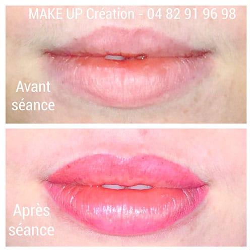 Maquillage permanent des lèvres, contour de la bouche - dermopigmentation à Lyon