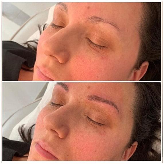 maquillage sourcils - avant-après